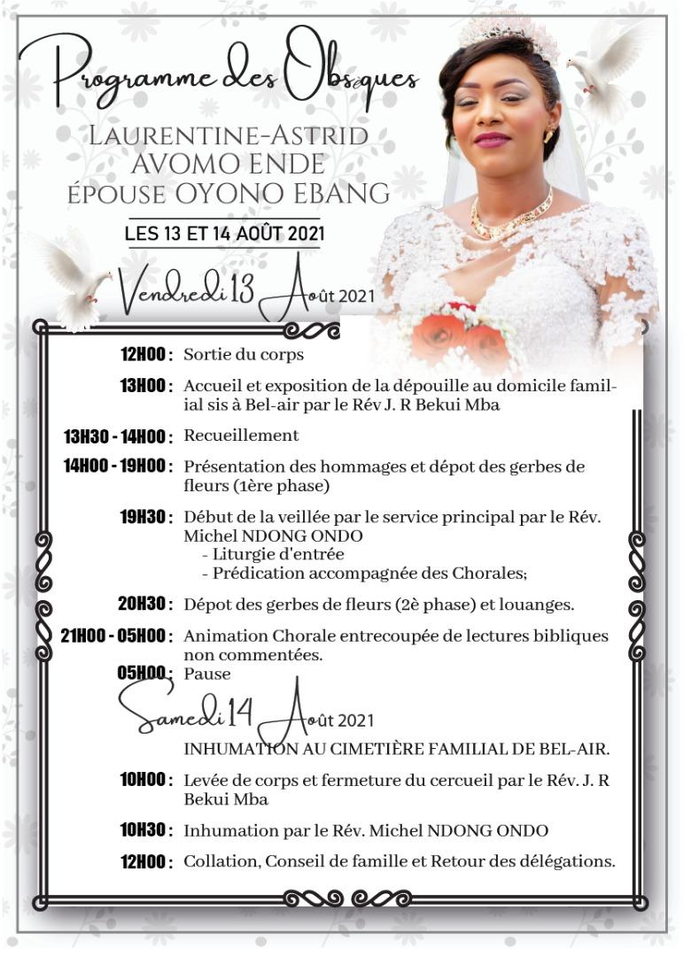 Programme des obsèques de « Laurentine-Astrid AVOMO ENDE épouse OYONO EBANG », les 13 et 14 août 2021
